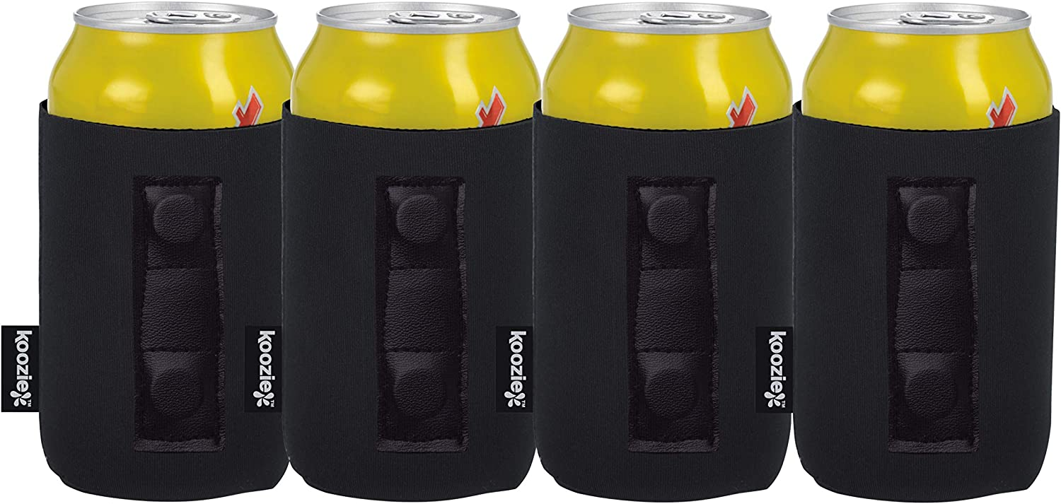 Koozie Magnetic Can Cooler, Neoprene Insulated 12 oz Beverage Holder for Metal Surfaces | Use on Trucks, Golf Carts, Tractor, Lawnmowers, Boats | Great for Tailgating, BBQs, Camping (4 Pack, Black)