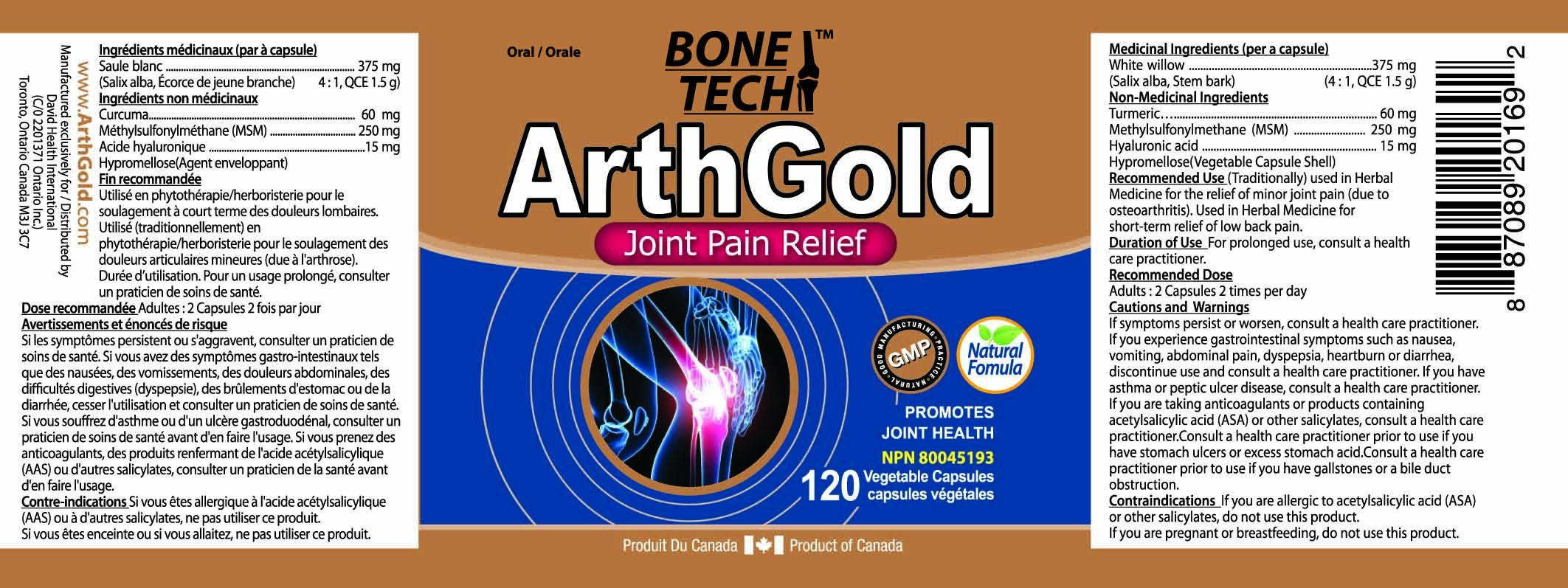 ArthGold Joint Pain Relief 850mg 120 Vcaps