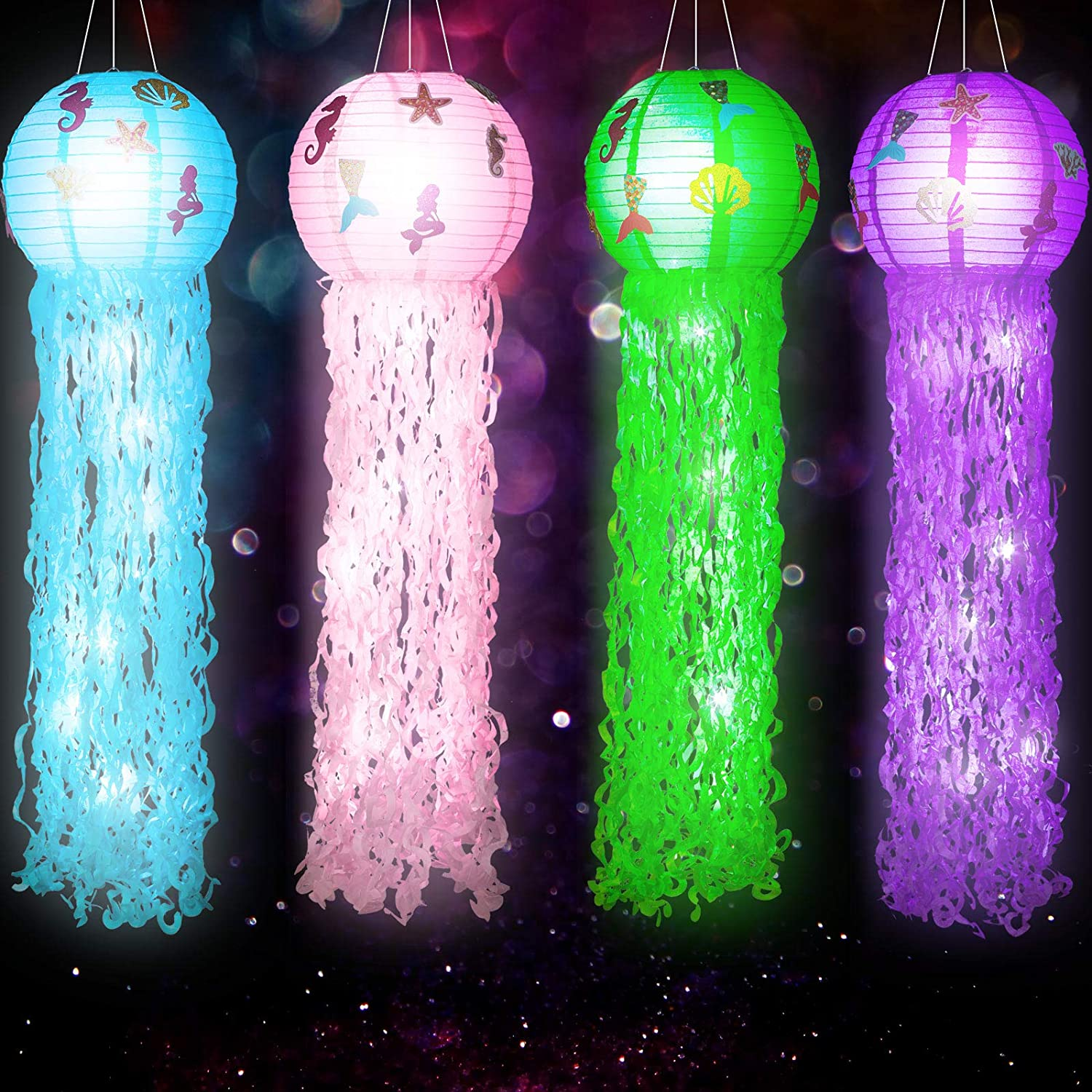 4 Pieces Jelly Fish Paper Lanterns Kit with Mermaid Confetti and LED Lights, Cute Hanging Mermaid Wishes Lantern for Baby Shower Child Birthday Party Decoration, Indoor or Outdoor Event Party Supplies