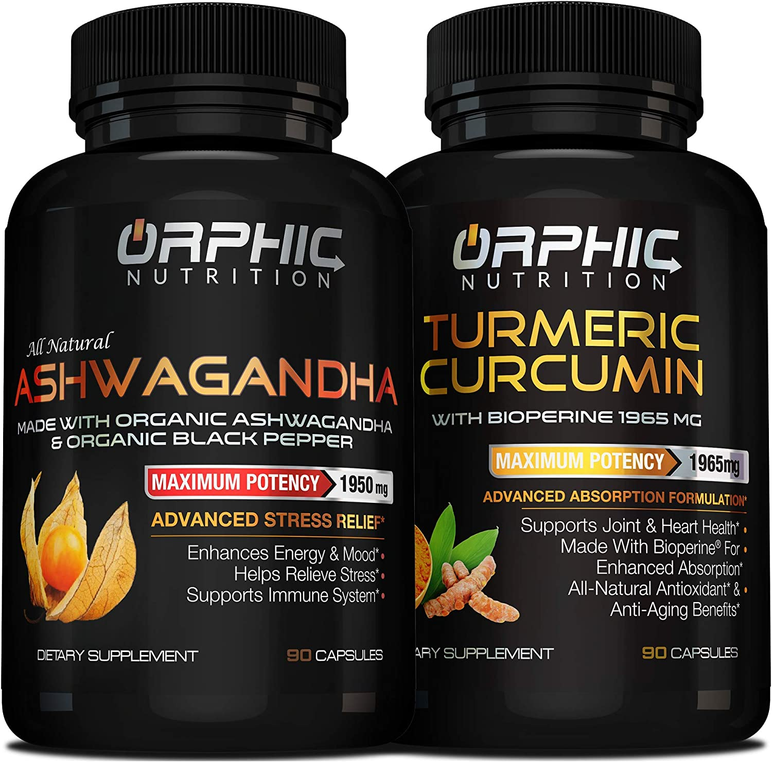 Organic Ashwagandha with Black Pepper and Turmeric Curcumin with Bioperine (90+90 caps) - Max Potency, Anti-Anxiety & Stress Relief - Anti-Aging, Joint and Heart Health Support - Boost Mood & Energy