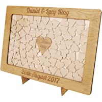 Personalised Wedding Wood Drop Box Frame Guest Book with Hearts