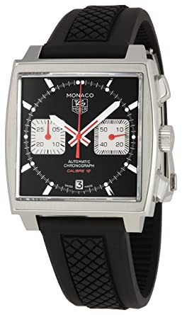 453f54064eebf Image Unavailable. Image not available for. Color  TAG Heuer Men s  CAW2114FT6021 Monaco Black Dial Watch