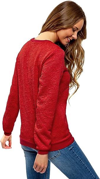 oodji Ultra damska prosta bluza z materiału strukturalnego: Odzież