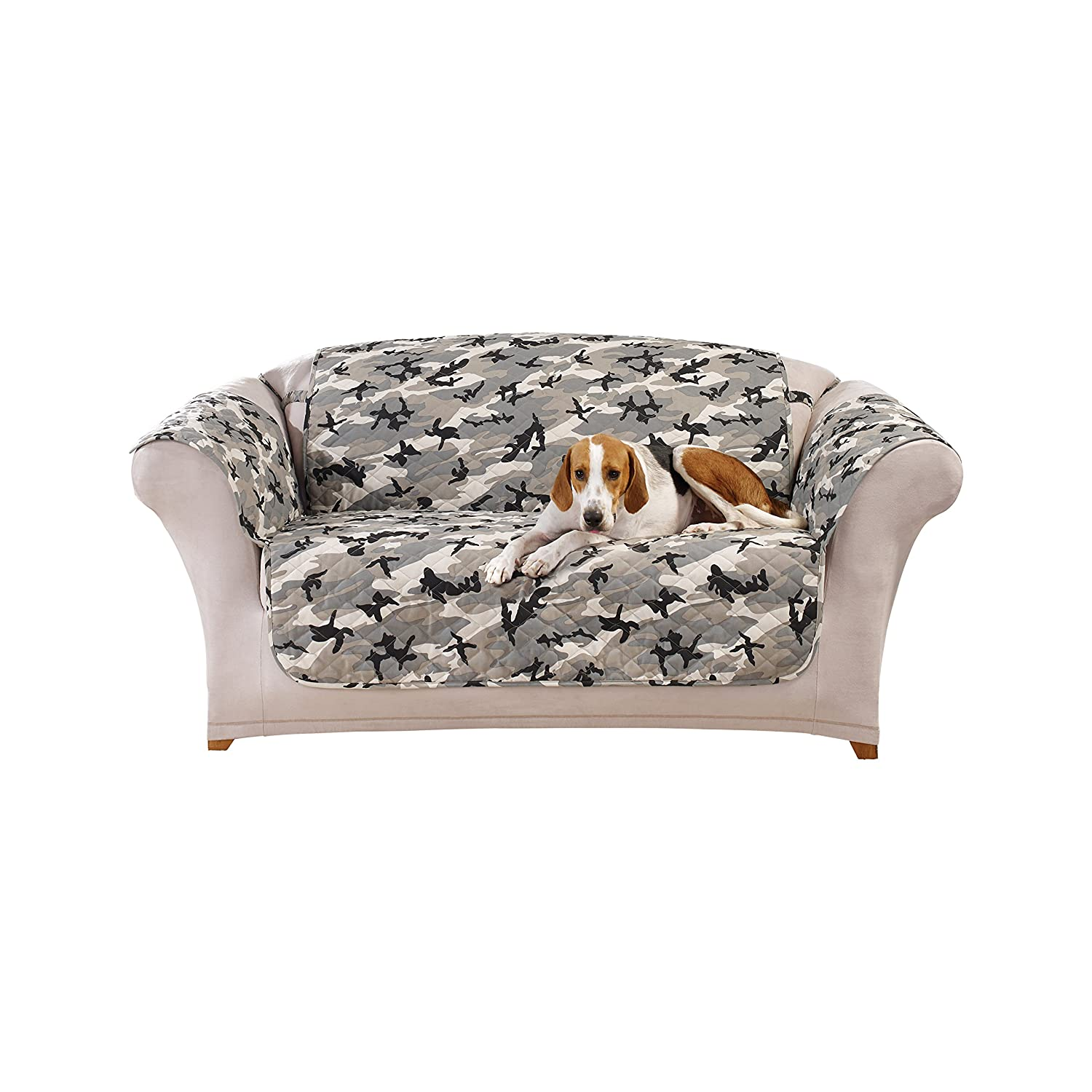 Amazon Sure Fit Camouflage Pet Loveseat Slipcover Gray
