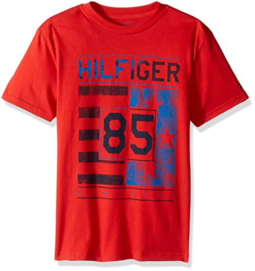 f963a081 Tommy Hilfiger Boys' Little Short Sleeve Crew Neck Flag Graphic T-Shirt,  Ripe