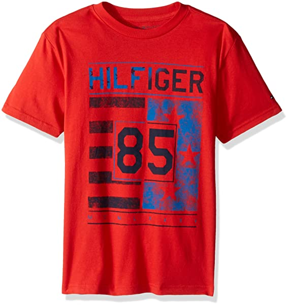 7d376283 Tommy Hilfiger Boys' Little Short Sleeve Crew Neck Flag Graphic T-Shirt,  Ripe
