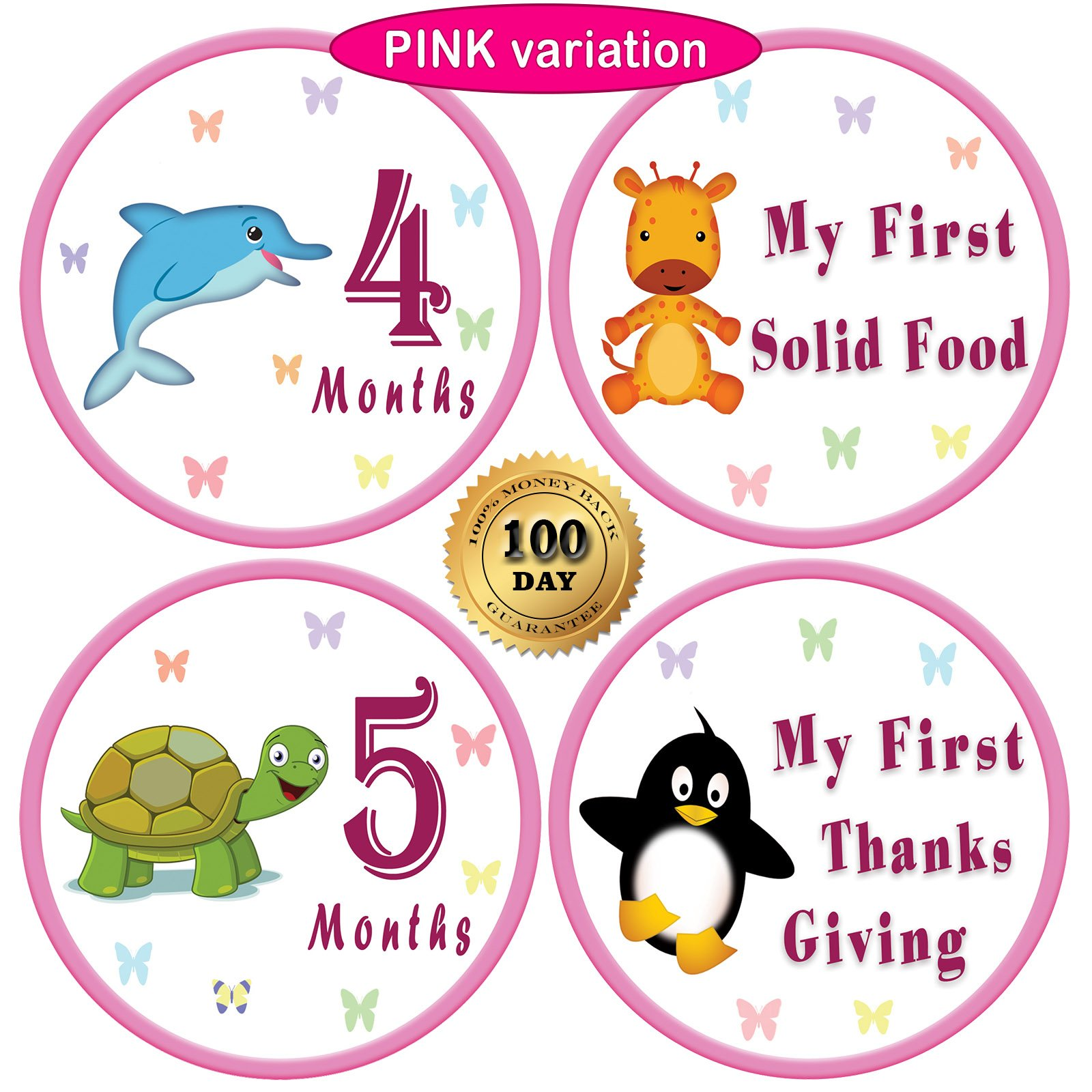 "Amazon 25 Pack of 4"" Baby Monthly Stickers with Milestone"