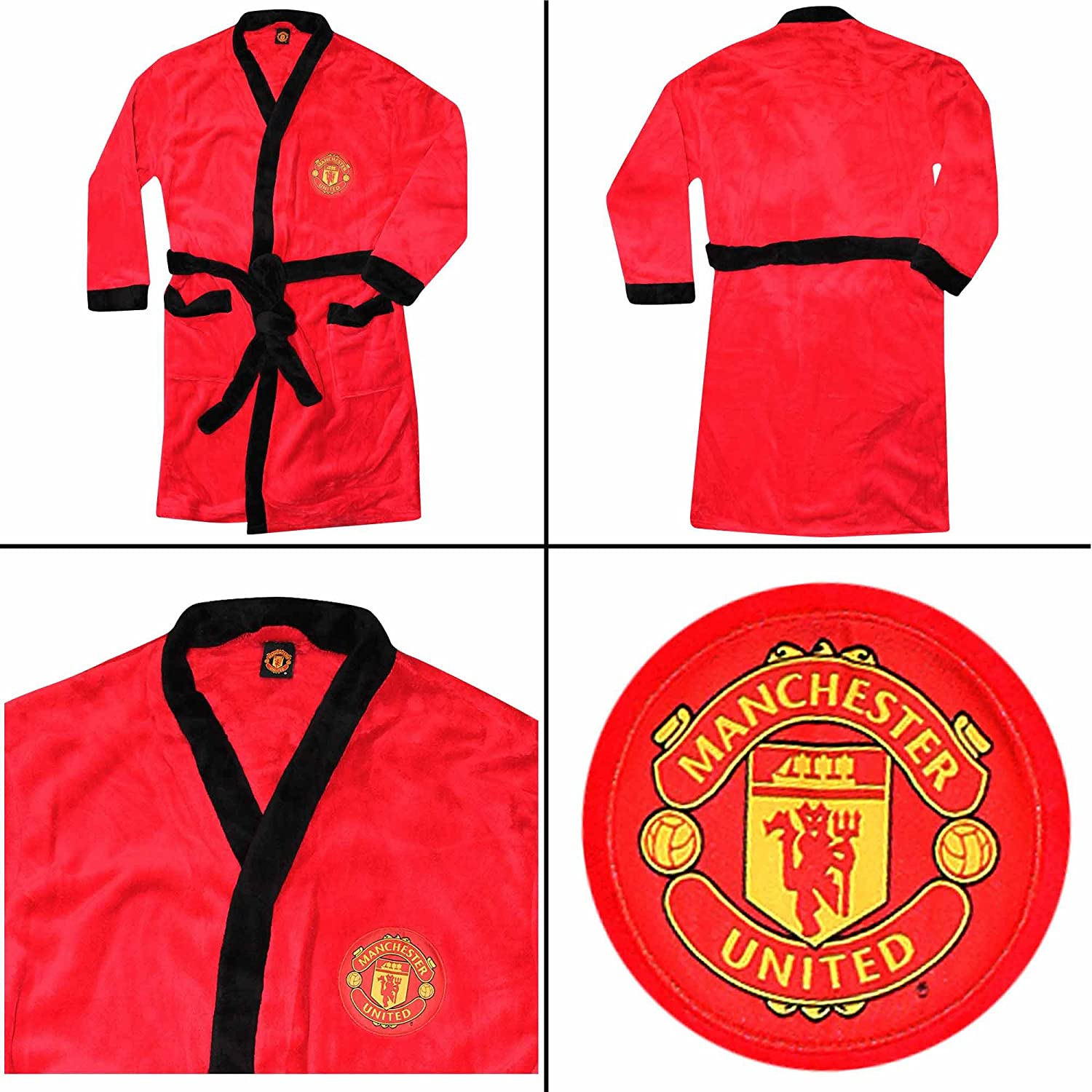 Red Devils Unisex Manchester United Adults Dressing Gown 100/% Polyester Fleece