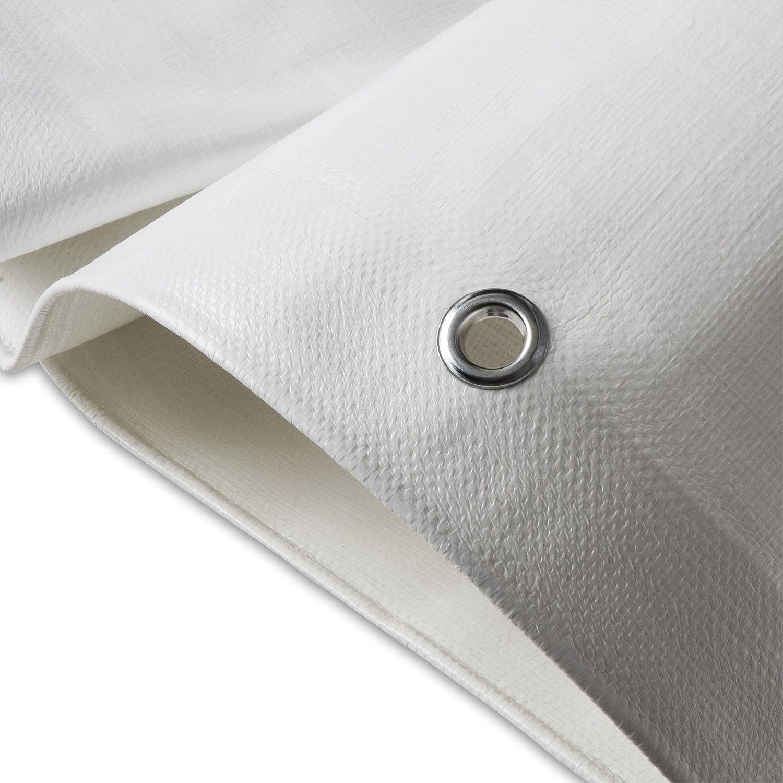 Bâche de protection casa pura® en polyéthylène | haute densité 260g/m² | 100% imperméable à l'eau et aux UV | blanc - env. 8x12m