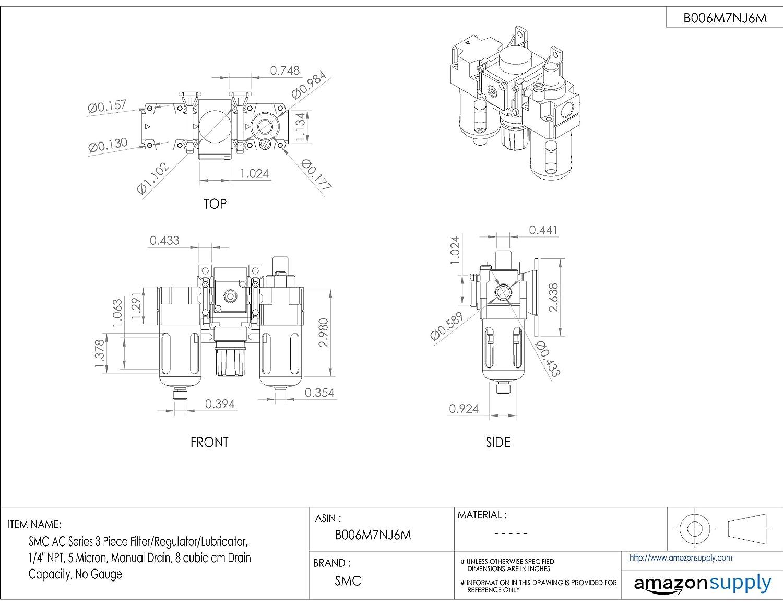3//8 NPT 25 cubic cm Drain Capacity Manual Drain No Gauge SMC AC Series 3 Piece Filter//Regulator//Lubricator 5 Micron