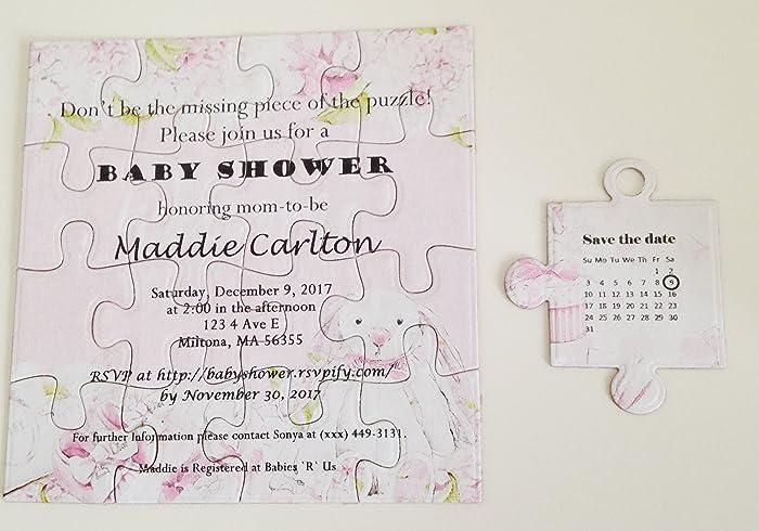 Amazon personalized baby shower puzzle inviation baby shower personalized baby shower puzzle inviation baby shower invitation baby girl puzzle invitation filmwisefo