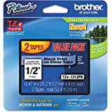 "Brother Genuine P-touch TZE-1312PK Tape, 1/2"" (0.47"") Standard Laminated P-touch Tape, Black on Clear, Perfect for…"