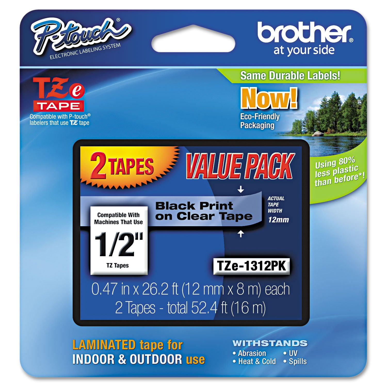 """Brother Genuine P-touch TZE-1312PK Tape, 1/2"""" (0.47"""") Standard Laminated P-touch Tape, Black on Clear, Perfect for Indoor or Outdoor Use, Water Resistant, 26.2 Feet (8M) each, Two-Pack"""