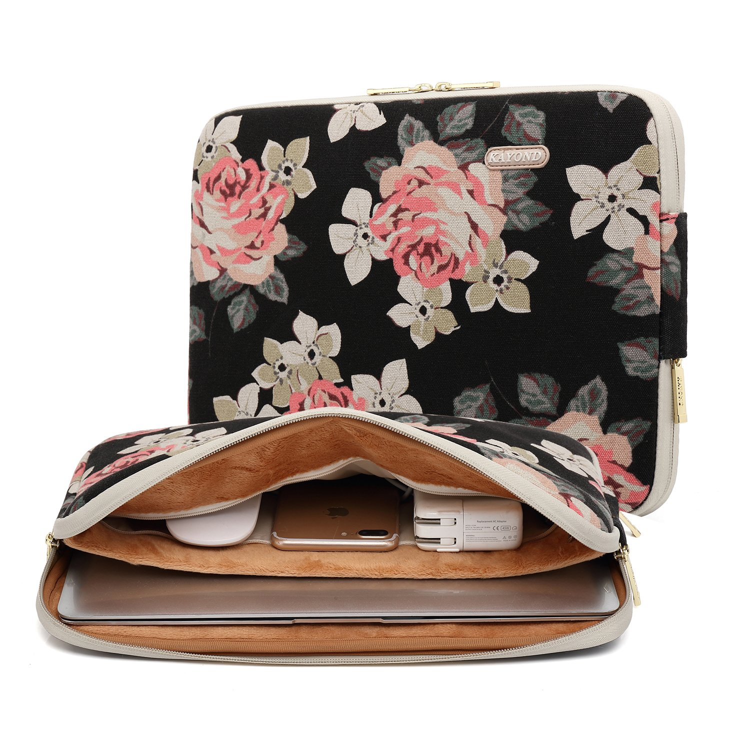 KAYOND Black Rose Patten canvas Water-resistant 13.3 Inch Laptop Sleeve