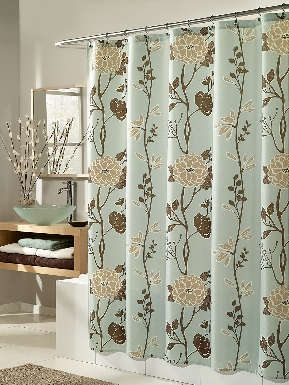Amazon Cassandra Blue Fabric Shower Curtain By MStyle 72 Wide X Long Home Kitchen