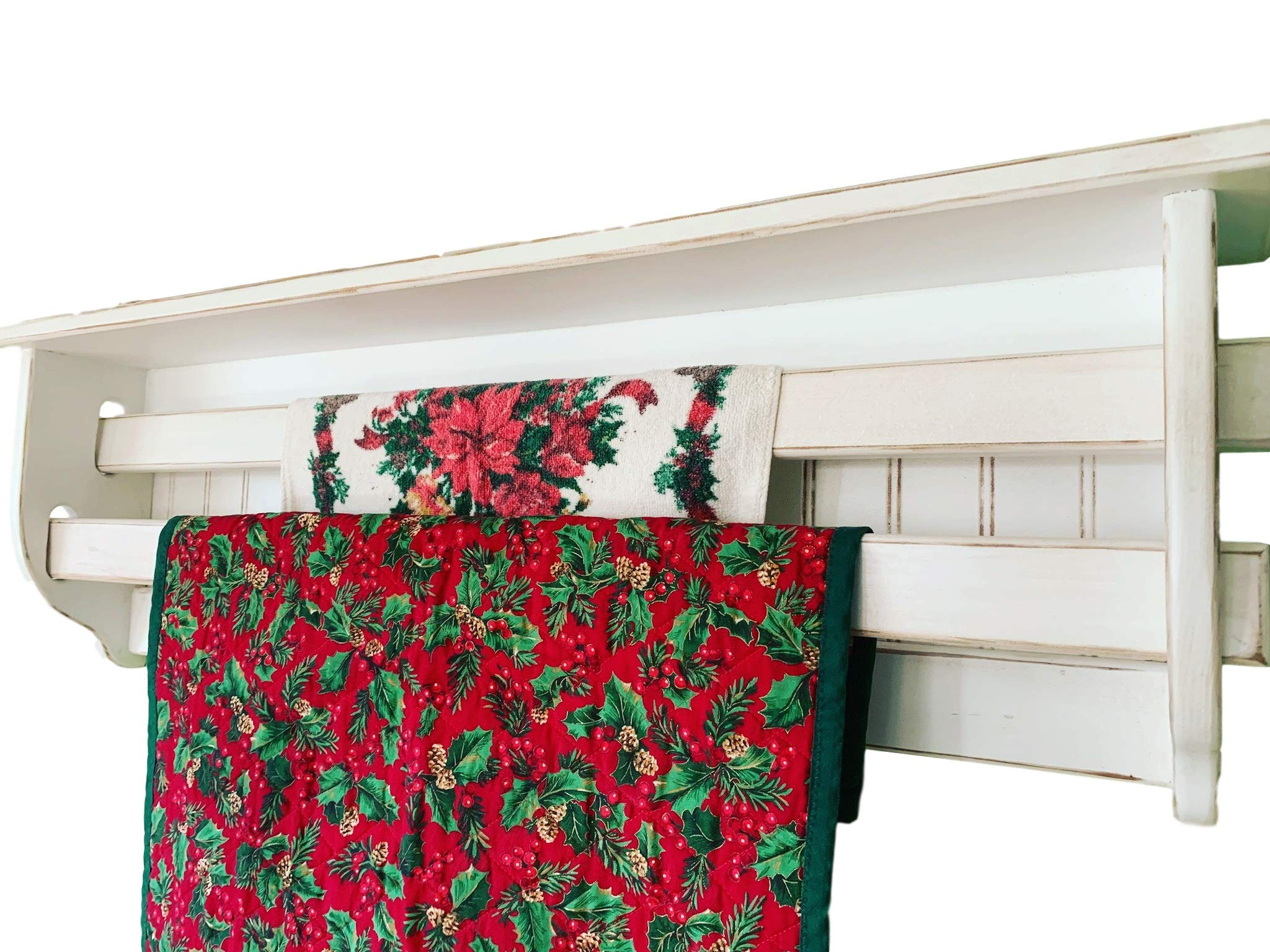 Quilt Rack for the wall, Double Bar Quilt Rack Wall Shelf, Quilt Display Shelf, Rustic Quilt Rack | Quilt Rack for 2 Quilts by Appletree Woodcrafts