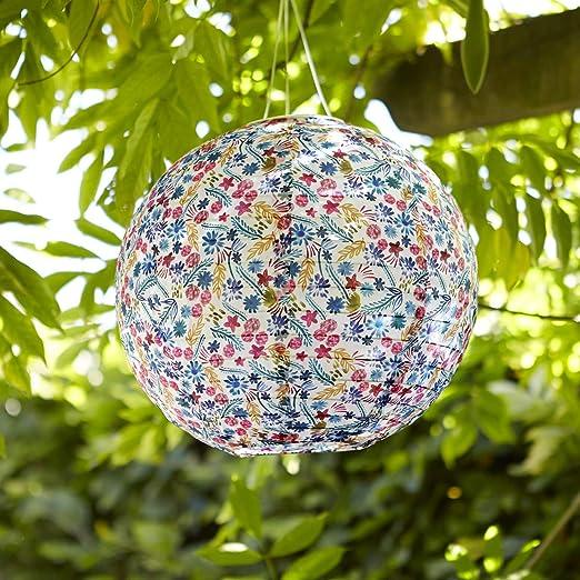 Lights4fun - Farol Solar de Jardín Chino con Diseño Floral y Luz LED para Uso en Exteriores: Amazon.es: Iluminación