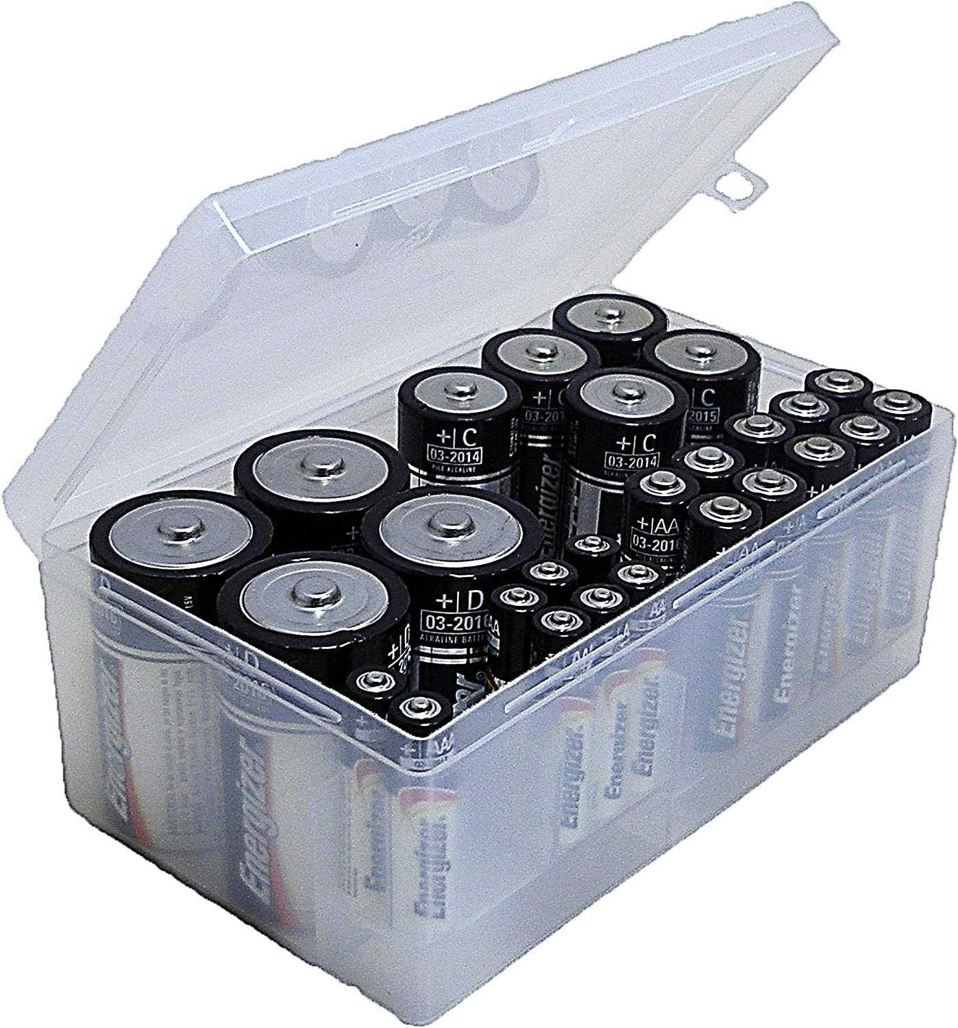 12 AAA Dial Industries B331FN Battery Organizer Case 4 D 6 C Clear 12 AA