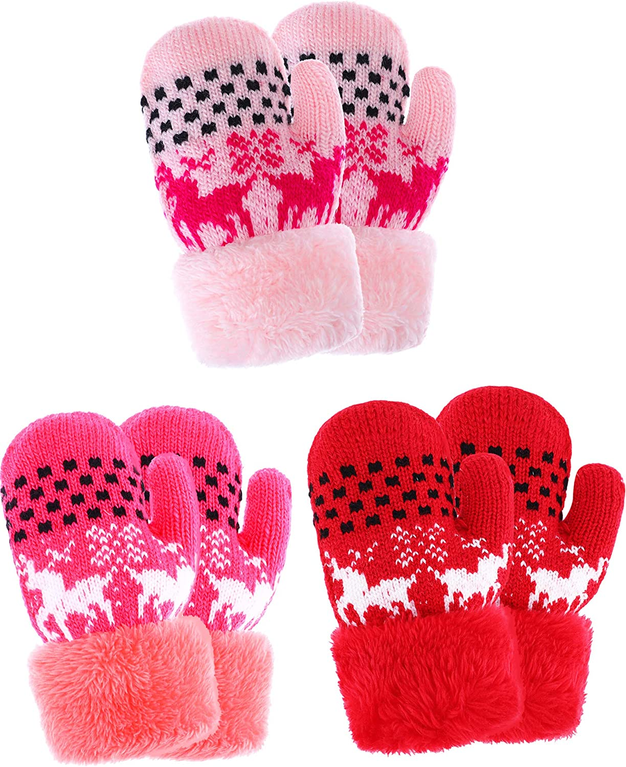 Tatuo 3 Pairs Kids Full Finger Gloves Winter Plush Lined Gloves Knitted Thicken Mittens for Infant Boys Girls Usage Color Set 4