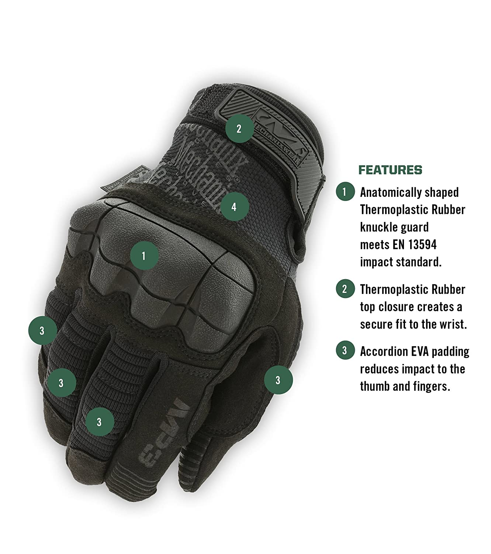 Large, Noir Mechanix Wear M-Pact 3 Covert Gants