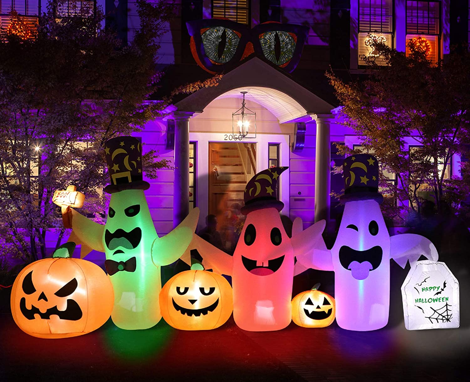 PETUOL Inflatable Decoration 3 White Ghosts, 8 Foot Long Lighted Decoration for Halloween, Thanksgiving Day, Christmas, Blow Up LED Party Indoor, Outdoor Yard, Garden, Lawn Decor