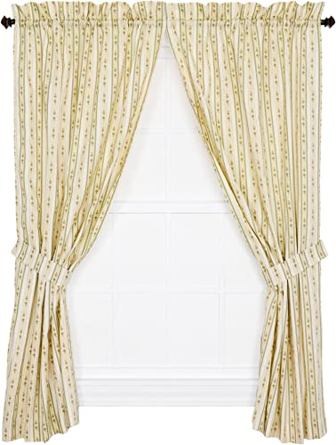 Ellis Curtain Cynthia Floral Stripe Print Tailored Panel Pair Curtains with Tiebacks, 68 by 84-Inch, Green