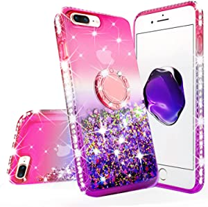 New iPod Touch Case,iPod Touch 5th/6th/7th Generation Case Liquid Glitter Quicksand Bling Sparkle Diamond Ring Stand Design for Apple iPod Touch 5/6/7,Pink/Purple