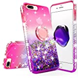 New iPod Touch Case,iPod Touch 5th/6th/7th Generation Case Liquid Glitter Quicksand Bling Sparkle Diamond Ring Stand Design f