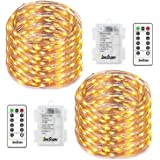 Homestarry 2 Set Fairy Lights 8 Modes String Lights Battery Operated Twinkling 50 LED Fairy String Lights 16.4FT Copper Wire Firefly Lights Remote Control for Bedroom Wedding Festival Decor(Warm White)