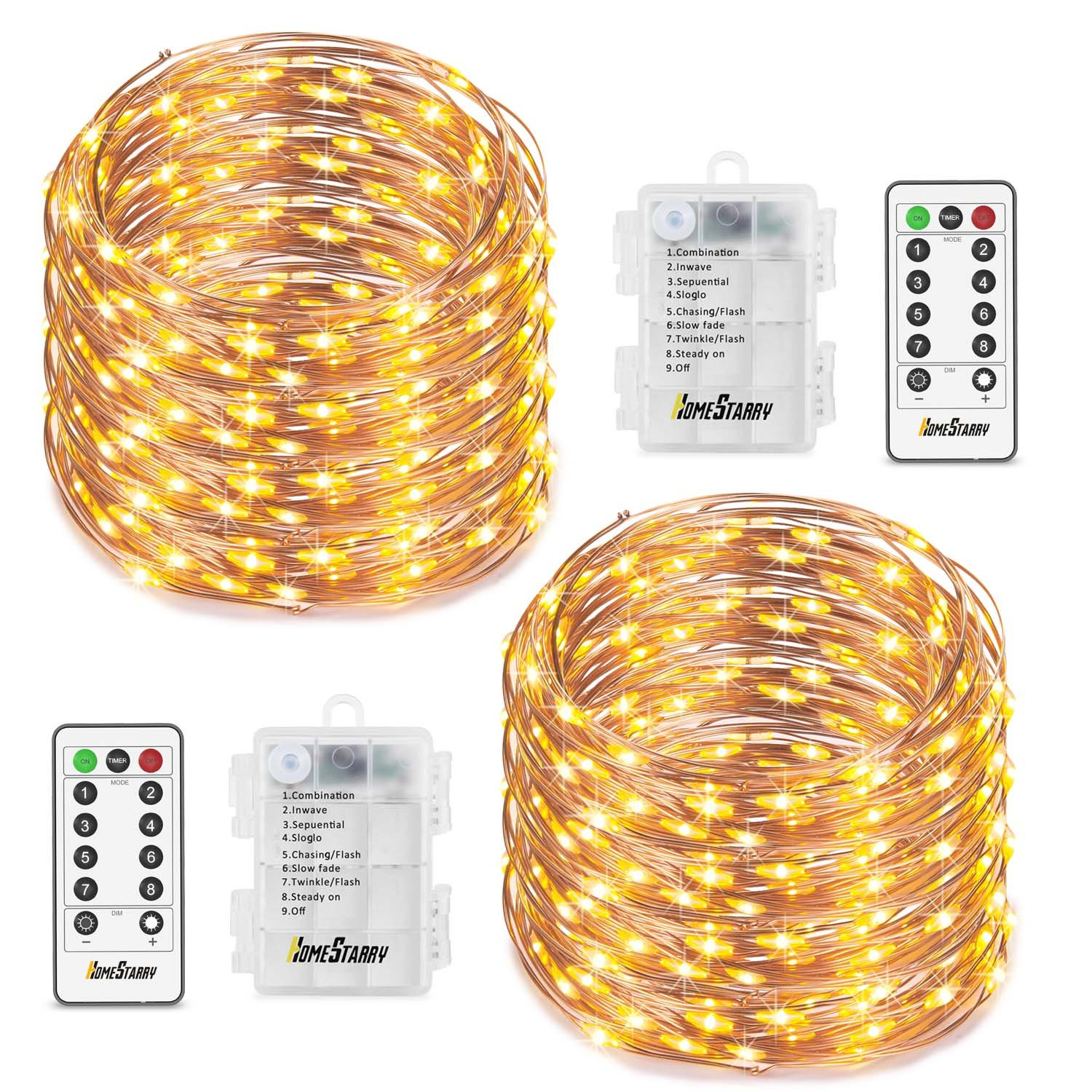 2 Set Fairy Lights 8 Modes String Lights Battery Operated Twinkling 50 LEDs Fairy String Lights 16.4FT Copper Wire Firefly Lights Remote Control for Bedroom Wedding Festival Decor(Warm White)