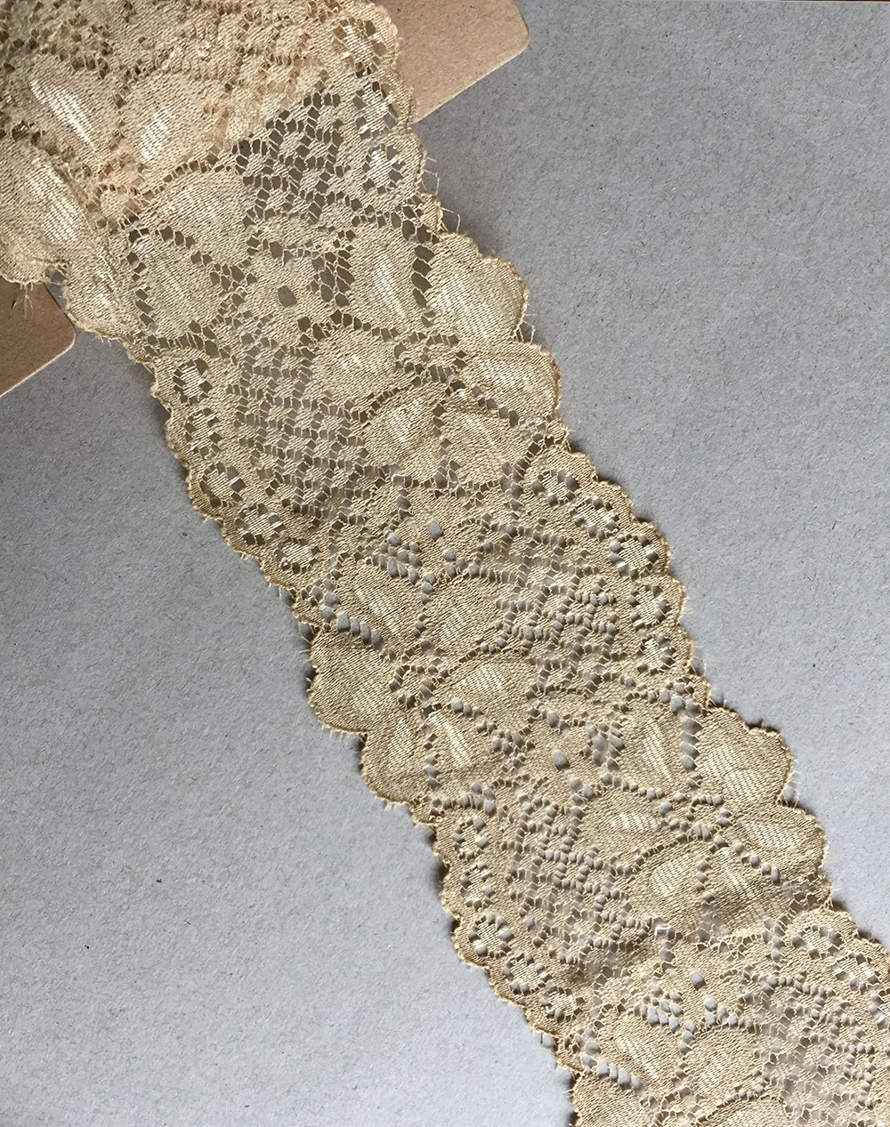 LACE REALM 2.5″ × 10 Yards Stretch Floral Pattern Lace Ribbon Trim Lace for Headbands Garters Decorating Floral Designing & Crafts (Ivory) jin xiang yu zhen fang you xian gong si