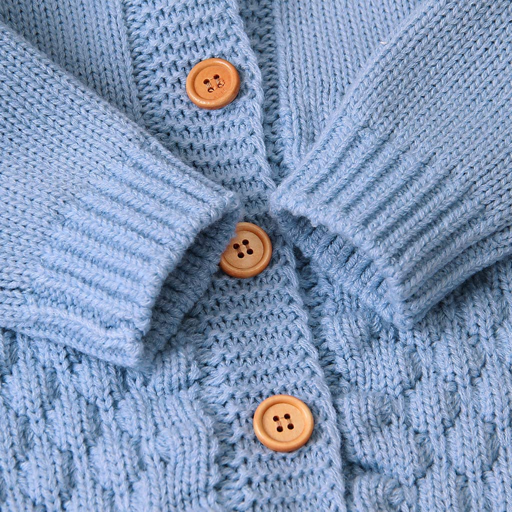 Kobay-baby Neugeborenes Baby M/ädchen Winter Knopf Pullover Strick Overall Overall Warme Kleidung Baby Overall Langarm Strickoverall 0-2Y