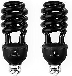2 Pack BlueX CFL Blacklight Bulb 24W – 100-Watt Equivalent – E26 Spiral Replacement Bulbs - Black Light Bulb Decorative Illumination - for Indoor or Outdoor – DJ, Aquarium Bulbs (Blacklight)