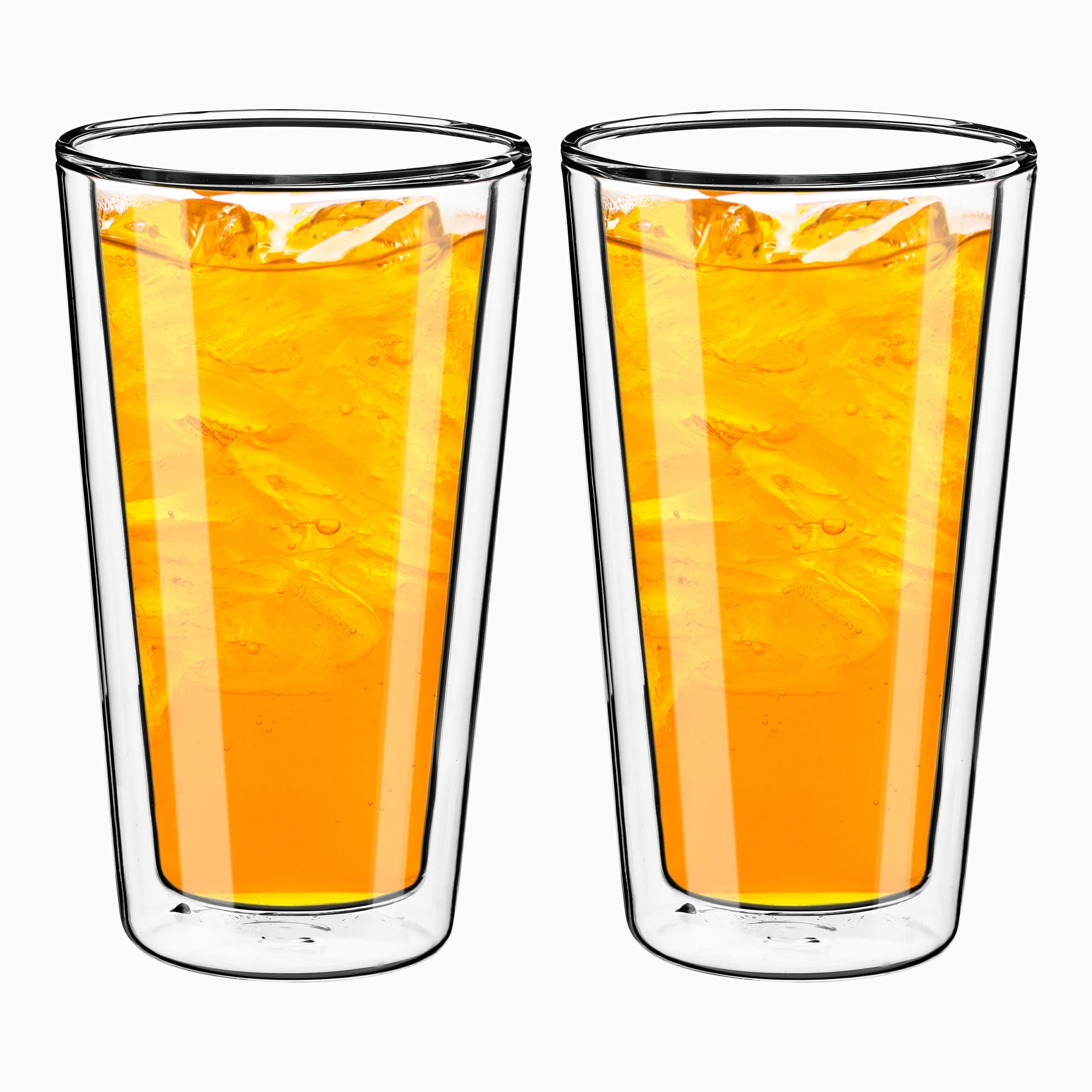 Style Setter Double Wall Tumblers - Set of 2 15.2oz Insulated Home Barware Glasses for Cold Drinks, Cocktails, Coffee, Hot Tea & Other Beverages - Unique Gift Idea for Birthday, Holiday & More