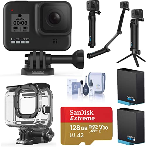 GoPro HERO8 Black, Waterproof Action Camera, Pro Explorer Bundle with Dive Protective Case, 3-Way Mount, 2 Batteries, 128B microSD Card, Cleaning Kit