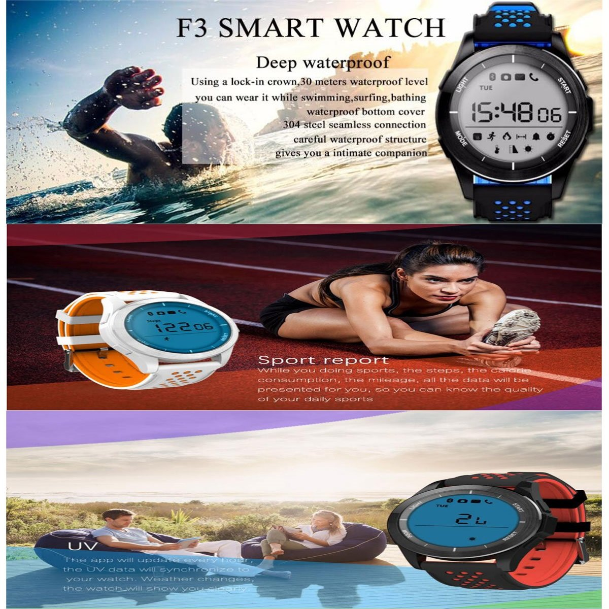 Amazon.com: Luminous Smart Watch Bracelet IP68 Waterproof ...