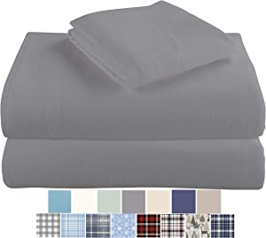 Morgan Home Cotton Turkish Flannel Sheets 100% Brushed Cotton for Supreme Comfort - Deep Pockets - Warm and Cozy, Great for All Seasons (Grey, Twin)