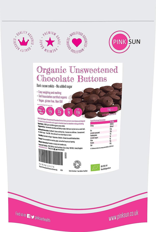 Gotas de chocolate ecológico sin azúcar PINK SUN (1 kg)