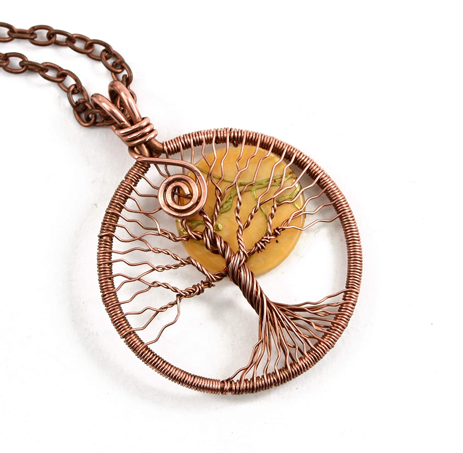 Amazon Com Copper Tree Of Life Pendant Necklace Moon Protection Amulet Copper Wire Wrapped Necklace Pendant Handmade Handmade