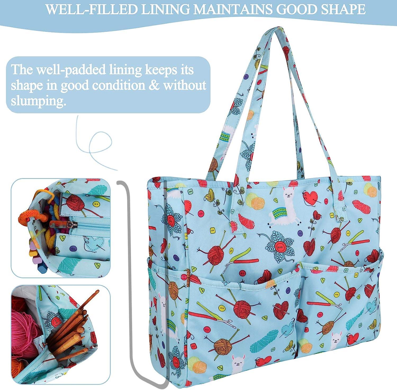 Leaping Sheep Project Bag Makeup Bag Knitting Bag Crochet bag Craft bag, Art Supply bag Toiletry Bag Zipper Pouch Cotton Bag