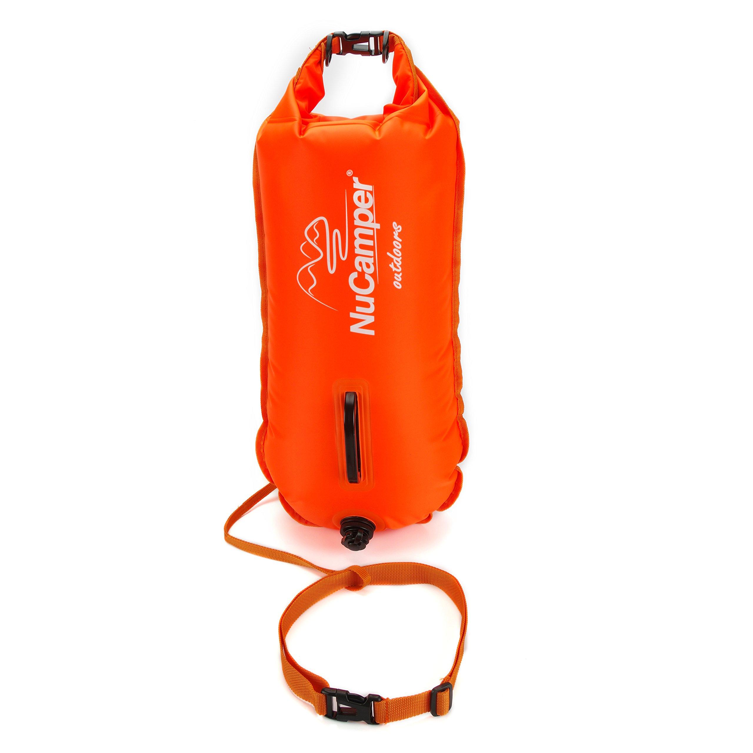 NuCamper 28L Inflatable Swim Buoy Waterproof Floating Drybag for Safe Swimming, Snorkeling, Kayaking, Water Diving, Training