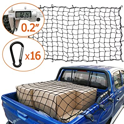 """AASHADEL 4\'x6\' Bungee Gargo Net Stretches to 8\'x12\', Tangle-Free 16 Pcs Clip Carabiner, Small 4\""""x4\"""" Mesh Holds Small and Large Loads Tighter, for SUV,ATV/UTV,RV,Pickup Truck Bed,Trailer Sold by WZQH: Sports & Outdoors [5Bkhe0806586]"""