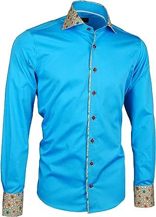 Giorgio Capone Camisa Premium para Hombre, ozio, Azul, Cutaway Collar, 100% Algodon, Slim/Normal & Regular-Plus Fit