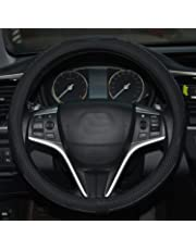 Rueesh Microfiber Leather Steering Wheel Cover, Anti-slip Matte Finish, Soft Padding, Universal 15 Inch Car Steering Cover, Embossing Pattern A, Black with Black Line