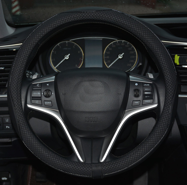 Rueesh Microfiber Leather Steering Wheel Cover, Anti-slip Matte Finish,  Soft Padding,