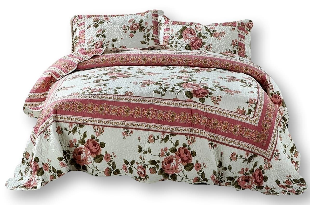 DaDa Bedding Cottage Bedspread Set - Dusty Roses Reversible Quilted Coverlet - Vibrant Floral Multi Colorful Mauve Pink - Twin - 2-Pieces
