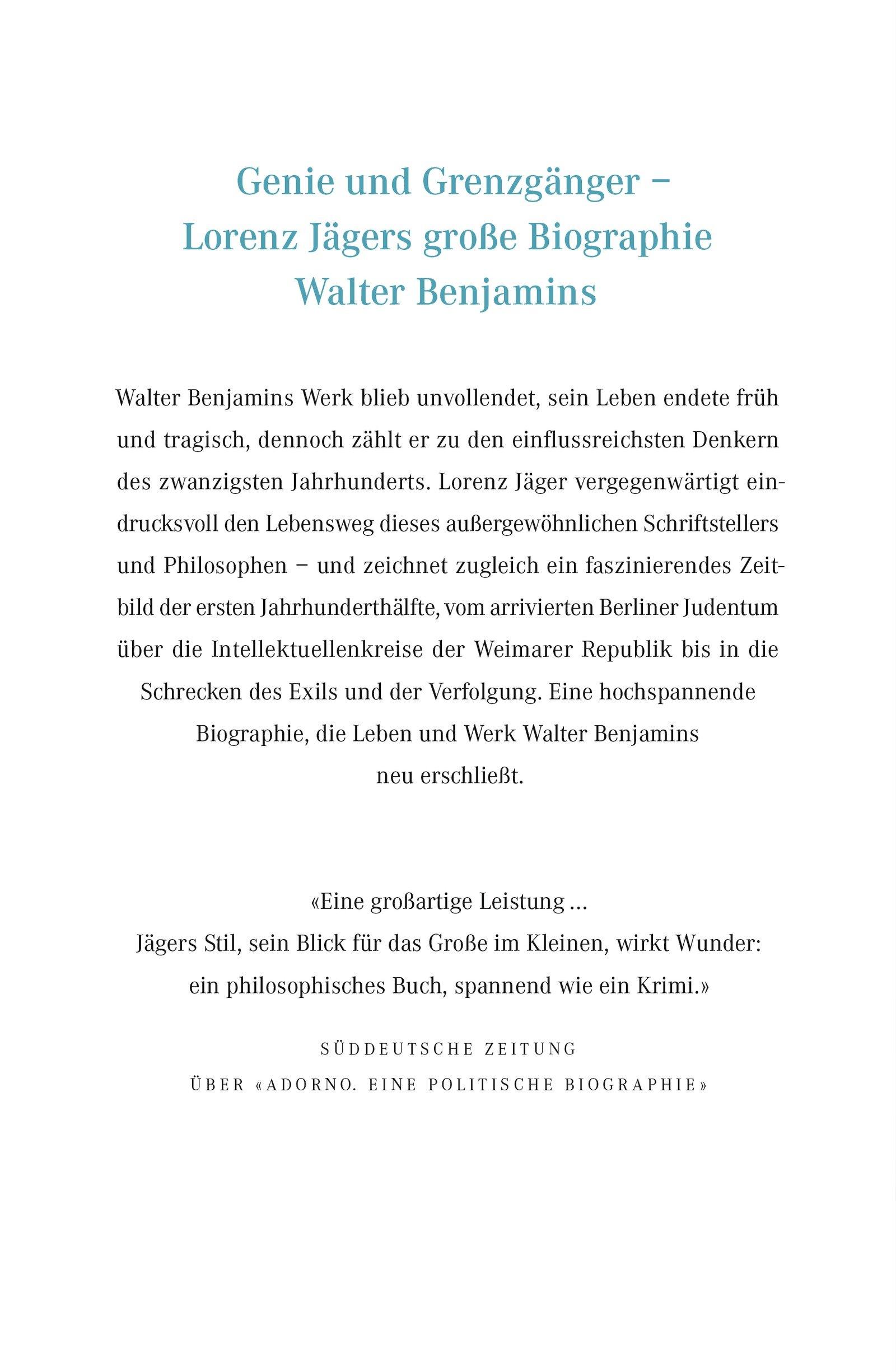 Atemberaubend Walter Benjamin: Das Leben eines Unvollendeten: Amazon.de: Lorenz @KY_63