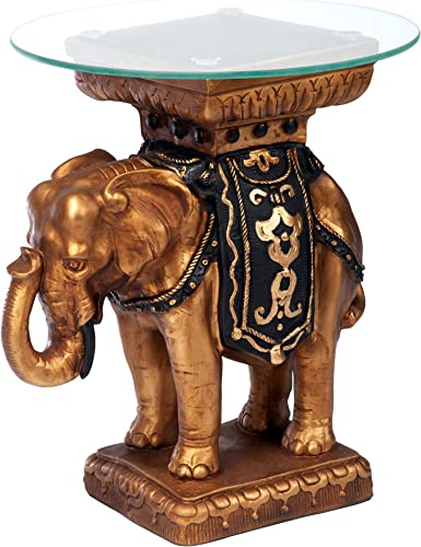 Design Toscano Maharajah Elephant Indian Decor Glass Topped Side Table