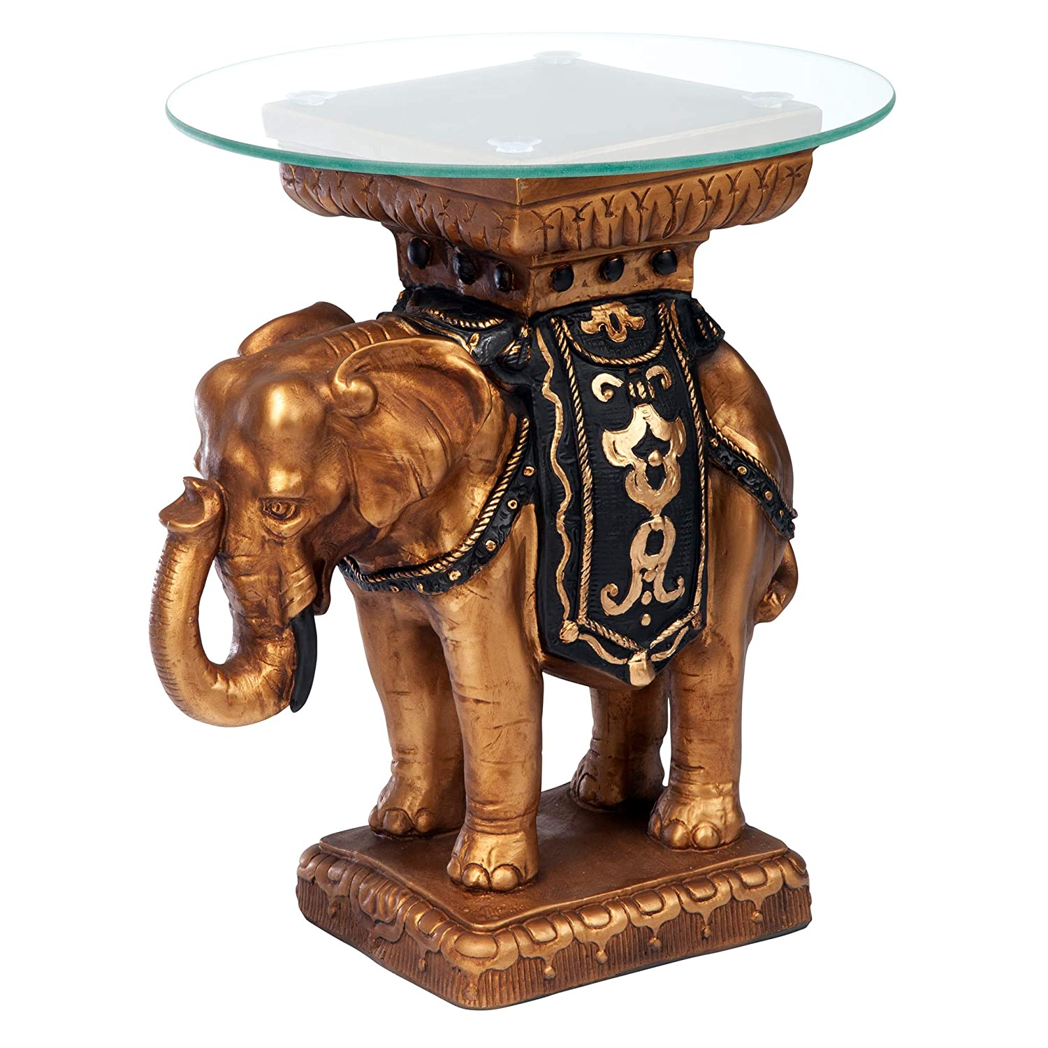 Design Toscano Maharajah Elephant Indian Decor Glass Topped Side Table, 22 Inch, Polyresin, Black and Gold