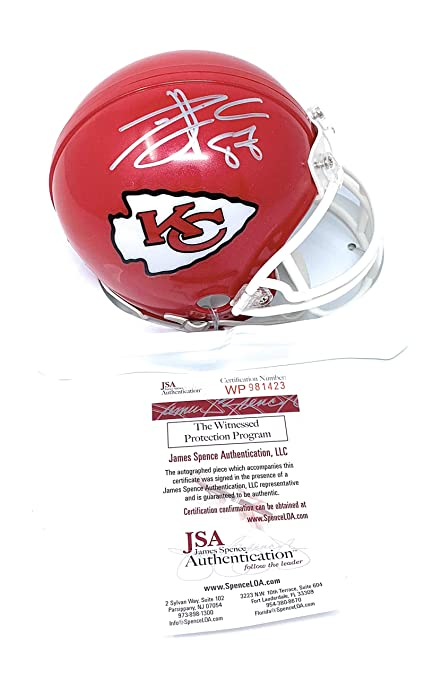24dbc9588 Travis Kelce Kansas City Chiefs Signed Autograph Mini Helmet JSA Certified